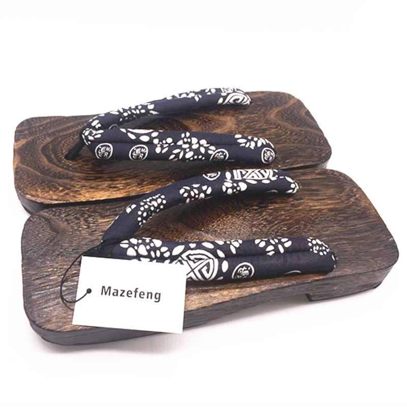 Mazefeng Summer Fashion Male Geta Clogs Print Wood Men geta sandals China Geta Clogs Classial Wooden Slippers Mens Flip Flops in Flip Flops from Shoes