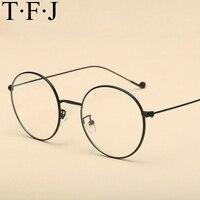 TFJ małe okrągłe okulary clear lens nerd unisex złota metalu round ramka okulary ramki optyczne mężczyzna kobiet czarny uv óculos