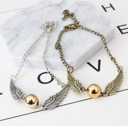 O novo quidditch ouro snitch bolso pulseira asas vintage retro tom para homens e mulheres atacado pulseira femme acier
