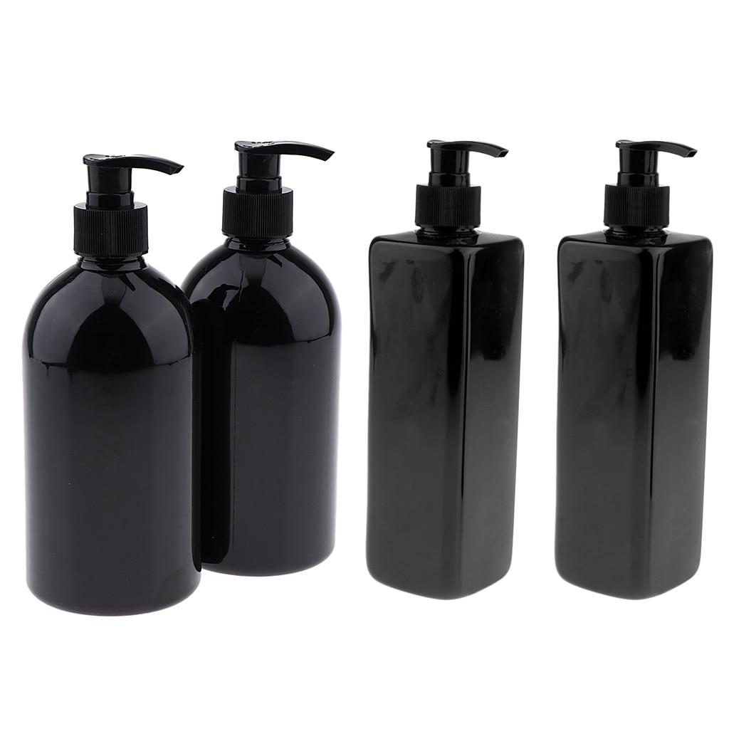 4 Pack Black 500ml Empty Plastic Pump Bottles, Refillable Bottles For Lotions, Liquid, Shampoo
