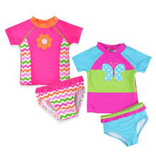 Funfeliz Baby Girl Swimwear UV Protection Two Pieces Swimming Suit for Kids Cute Pink Floral Girls Children Swim wear