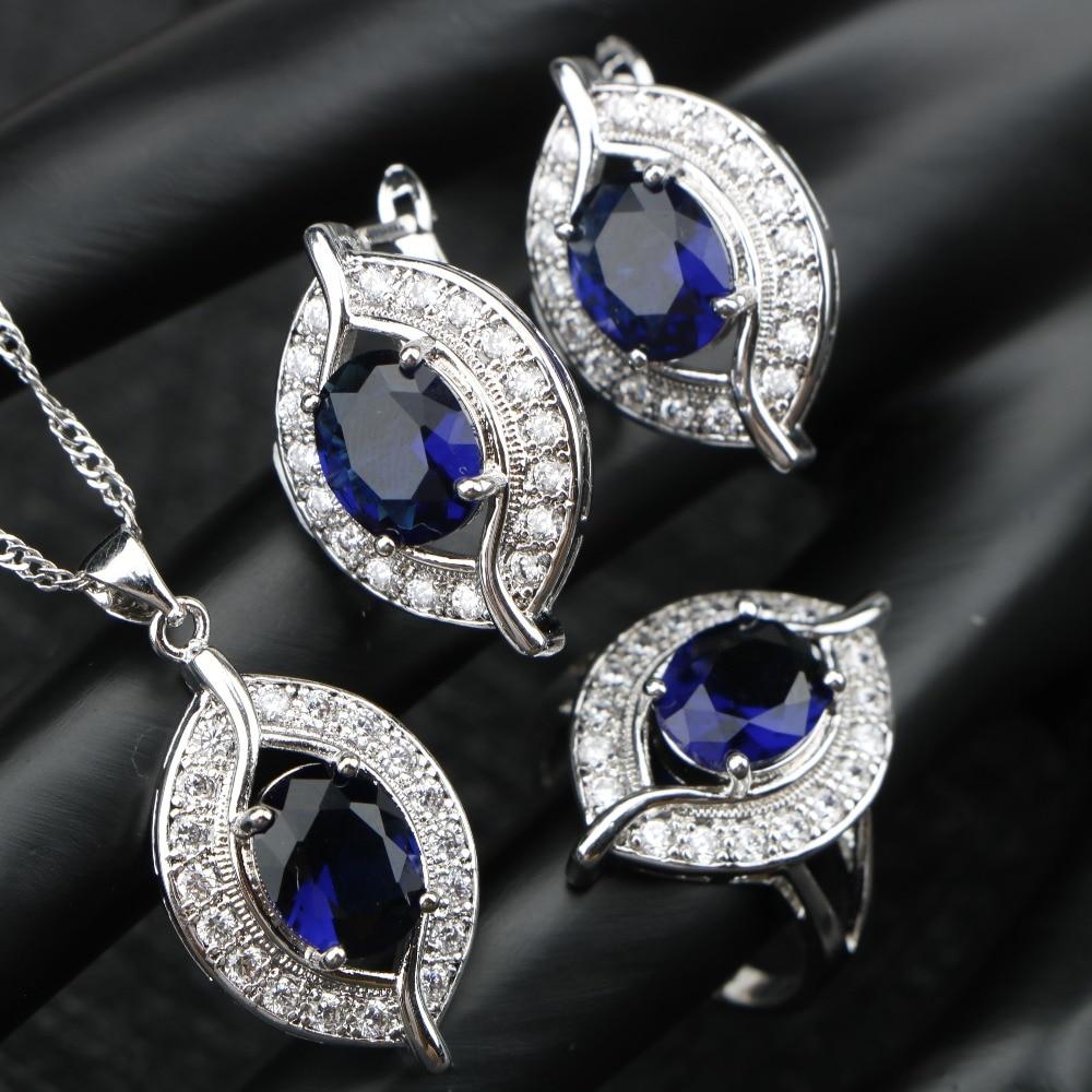 Blue Cubic Zirconia Wedding Silver 925 Costume Bridal Jewelry Sets Luxury Stone Earrings For Women Rings