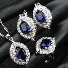 Синий кубический цирконий Свадьба Серебро 925 костюм наборы свадебных ювелирных изделий роскошный камень серьги для женщин кольца кулон