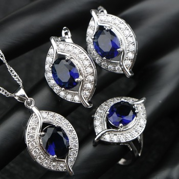 Blue Cubic Zirconia Silver 925  Pendant Necklace Jewelry Sets