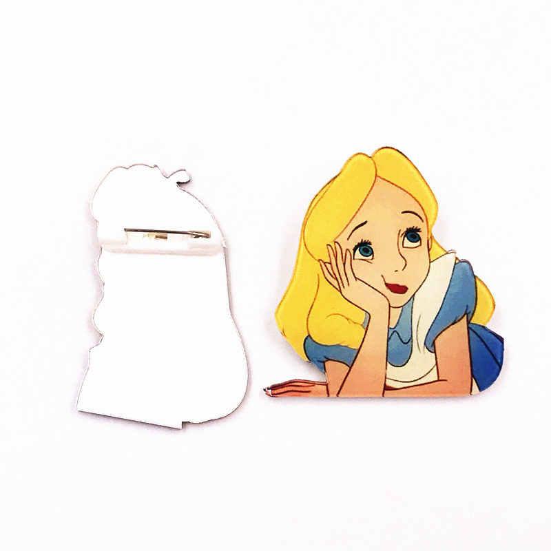 1 Pcs Kartun Putri Alice Gadis Acrylic Lencana Bros Pakaian Ikon Pada Tas Ransel Syal Bros Pesta Anak hadiah