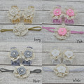 24set/lot  Baby Barefoot Sandals With  Satin Rosette and Pearl Matching Baby Headband  Luxe Barefoot Luxe Headband