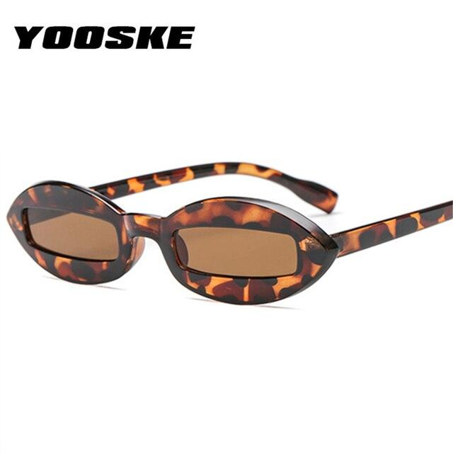 4e8743db1dd35 YOOSKE Pequeno Oval Óculos De Sol Das Mulheres Retro Retângulo Rosa  Leopardo Preto Óculos de Sol