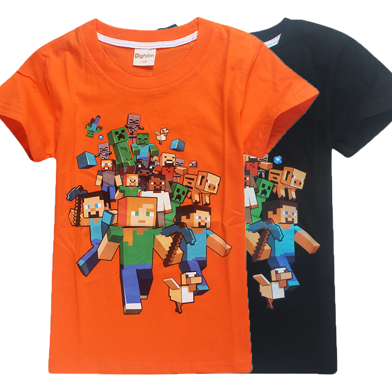 6c26b05789 Cartoon minta Minecraft fiú Póló Fortnite Gyerekek lányok Rövid ujjú ...