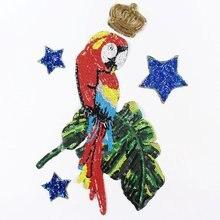 High-end custom sequins parrot large Patch, clothing textiles applique sweater down jacket diy decoration patch