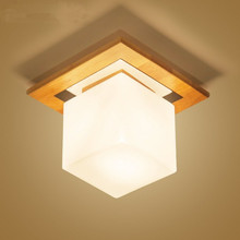 Wood ceiling lamp simple Japanese-style bedroom lamp tatami balcony aisle lights