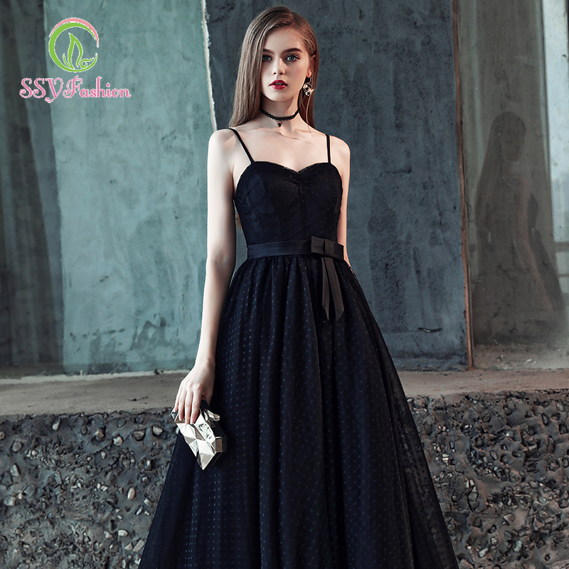 SSYfashion Strap Lace Up Back Sleeveless Floor-Length Tulle Black Long Evening Dress Custom Party Formal Dress Women Elegant