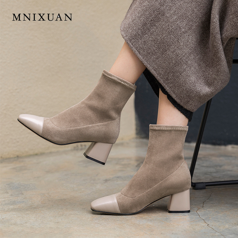 MNIXUAN elegant women shoes ankle boots 2018 autumn winter new genuine leather suede slip on 5cm high heels black short boots