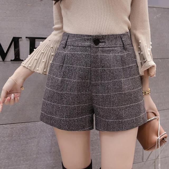 ac33a6b844 2018 otoño invierno las mujeres de lana pantalones cortos de cintura alta  pantalones cortos a cuadros
