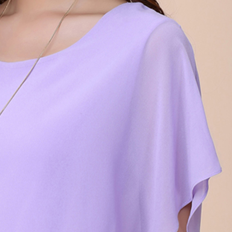 Women Tops and Blouse Butterfly Shorts Sleeve O-Neck Chiffon Blouse Loose Casual Summer Shirts Solid Blusas Clothes Plus Size 5X 6
