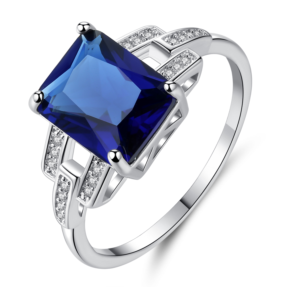Cinily Stone Jewelry Zircon Ring-Size Wedding-Gift Silver-Plated Blue Women for 6-9 NJ85