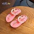 Cuero de la pu del bebé sandalias de la muchacha 2017 verano playa perla bowtie coreanos niños sandalias antideslizante toddlers infantil elástico girls shoes