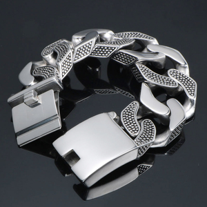 Image 2 - 31MM Wide Heavy Metal Bracelet Men Male Casting Solid Stainless Steel Chain Link Mens Bracelets Massive Biker Rocker Jewelry Man