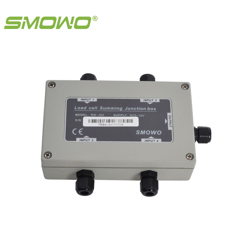 sensor load cell  summing  junction box RW-JX4A multi road 4 channels din rail mounting load cell sensor amplifier rs485 modbus rw gt01de