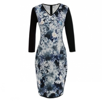 FD3504 Lady 3 4 Sleeve Pencil Dress Vestidos Robe V Neckline Abstract Floral Pattern Printing Patchwork