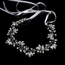 TREAZY Romantic Bridal Wedding Headband Imitation Pearl Crystal Flower Bride Headdress Wedding Jewelry Accessories with Ribbon