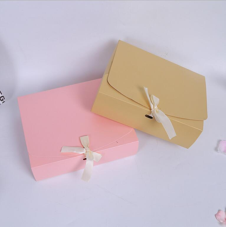 24.5x20x7cm Large Pink red purple paper gift box with ribbon wedding favor birthday party gift packaging paper box big size-in Gift Bags & Wrapping Supplies from Home & Garden    2