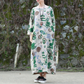 2016 Осень Платье Для Женщин Длинные Макси Платье Абстрактный Принт Хлопок Белье Платье Одеяние Longue Femme Vestidos Elbise Jurken