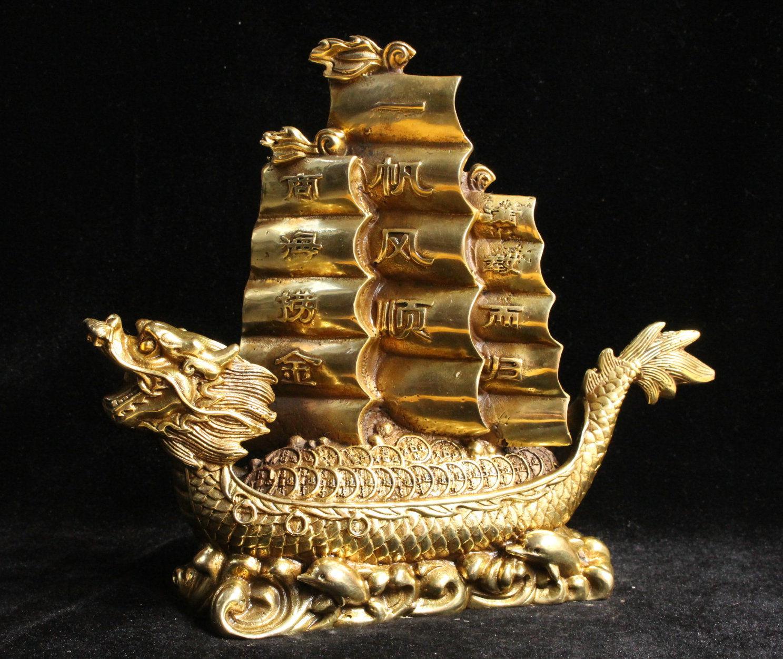 Chinese Feng Shui Bronze Brass Money YiFanFengShun Dragon Ship Boat Statue