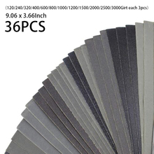 Metall Schleif Papier Set 9,06x3,66 Inch Wet Trockenen Blatt Sortiment Schleifkorn Papier Silicon Hartmetall Schleifpapier 36 stücke automotive
