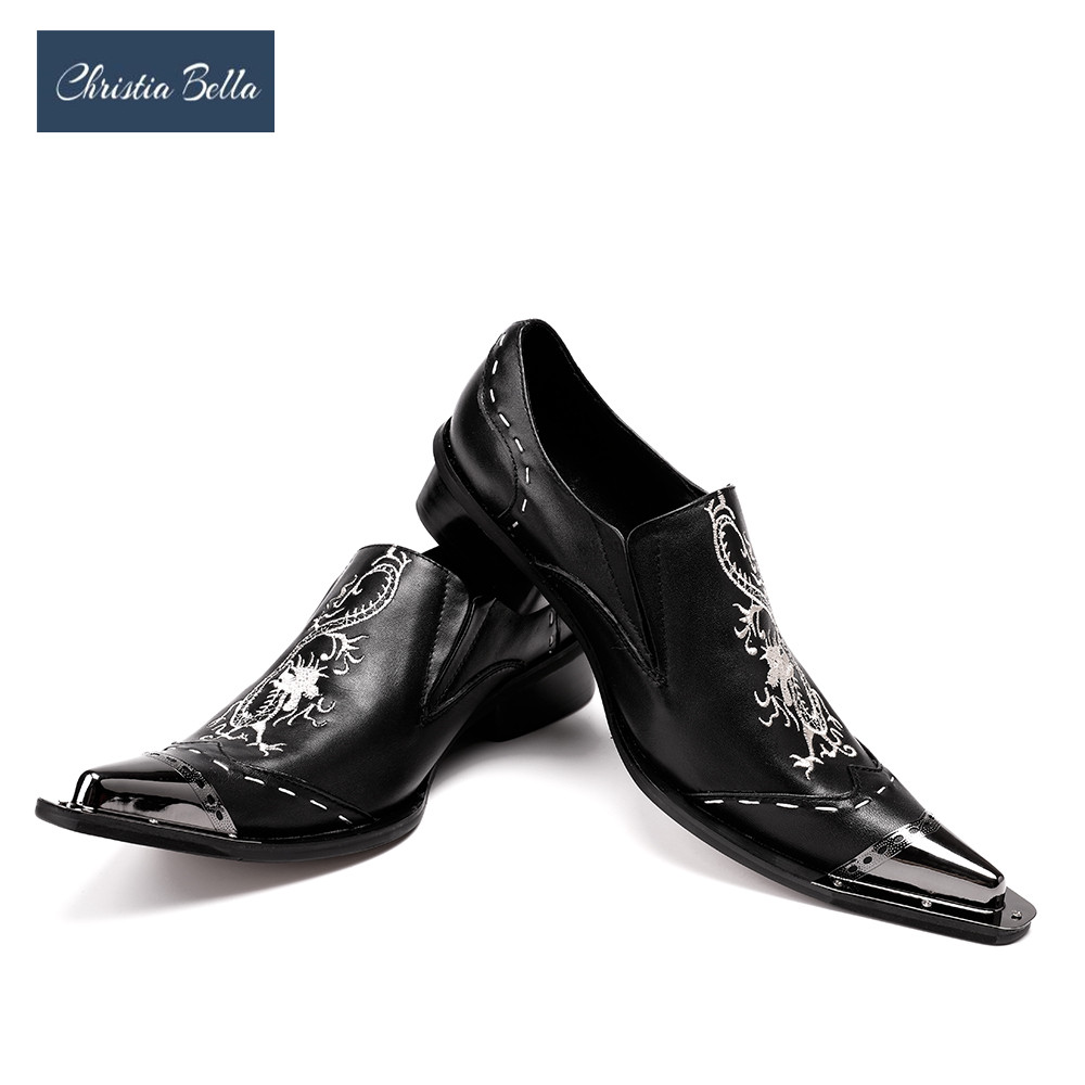 Christia Bella New Black Men Handmade Loafers with Dragon Embroidery USA Style Fashion Party and Banquet Men