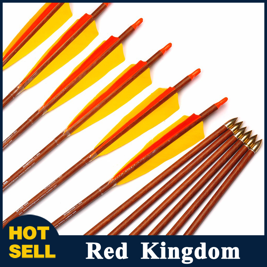 6/12pcs Pure Carbon Arrow 32 inches Wood Skin Shaft Spine 500 with Turkey Feather For Traditional Bow Archery Hunting Shooting wholesale archery equipment hunting carbon arrow 31 400 spine for takedown bow targeting 50pcs