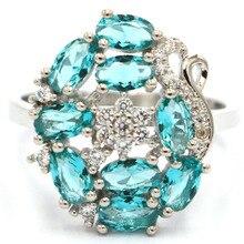 8.0# Elegant Rich Blue Aquamarine White CZ SheCrown Womans Silver Ring 19x16mm