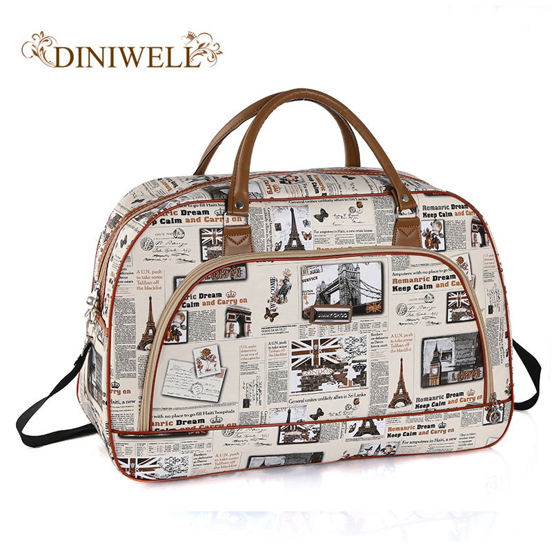 Women Waterproof Travel Bag Summer Style PU Leather Women Bag Travel Duffel Bag New Tower Beauty Lady Print Luggage Duffle B