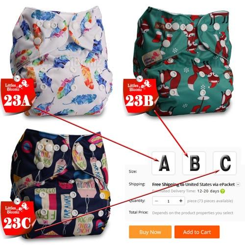 [Littles& Bloomz] Детские Моющиеся Многоразовые Тканевые карманные подгузники, выберите A1/B1/C1 из фото, только подгузники/подгузники(без вставки - Цвет: 23