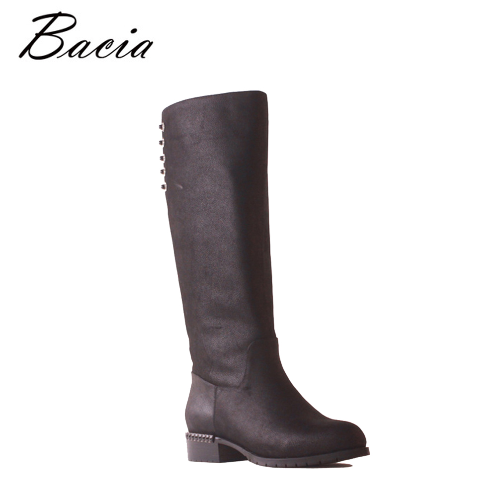 Bacia Women Cow Leather Low Heel Boot Shoes Wool Fur&Short Plush Ladies Fashion Quality Genuine Leather Winter Warm Boots SB125