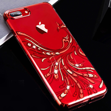 KAVARO pour iPhone X étui pour iPhone 8 strass étui de luxe diamants cristaux plaqué coque PC pour iPhone X 7 8 plus couverture arrière