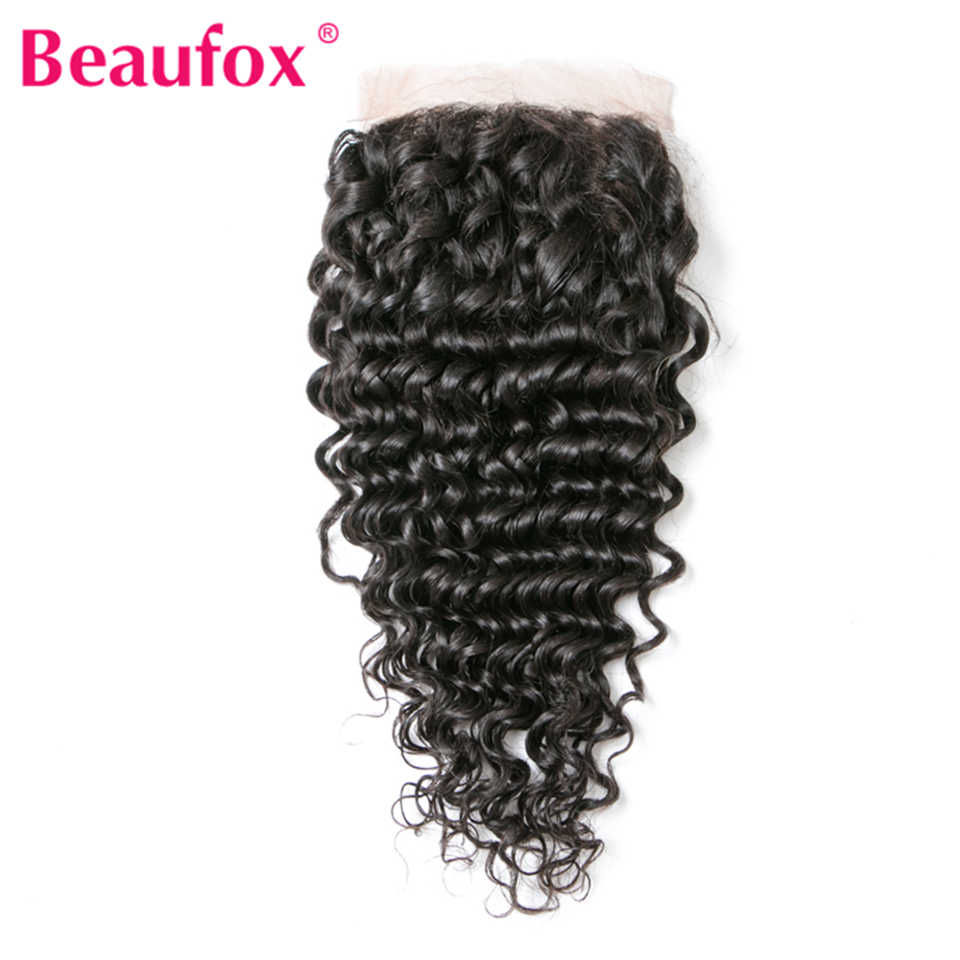 Beaufox Brazilian Deep Wave Lace Closure 4x4 Human Hair Free Part With Baby Hairs 130% Density Remy Hair Natural Color