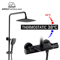 Black Luxury Thermostatic Shower Set Rain Waterfall Shower Bathtub Faucet Bathroom Top HandHeld Shower Head 10 Mixer Tap AH3001
