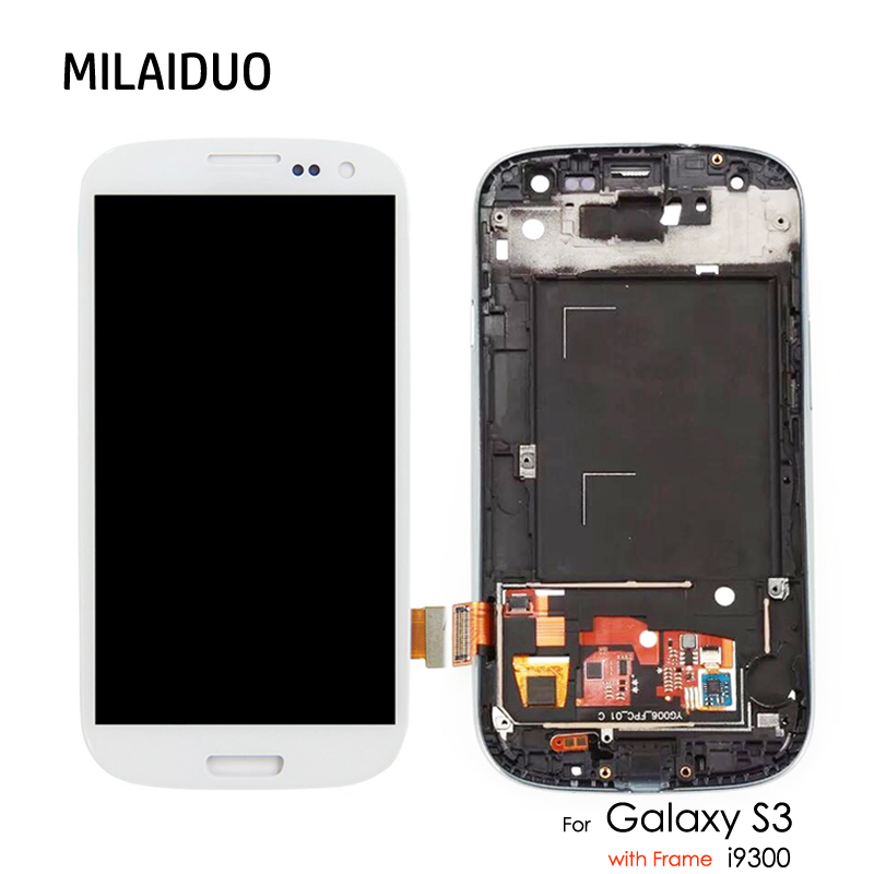 4,8 ''Einstellen Helligkeit Für Samsung Galaxy S3 I9300 I9300i I9301 I9301i I9305 LCD Display Touch-Screen-Digitizer mit Rahmen