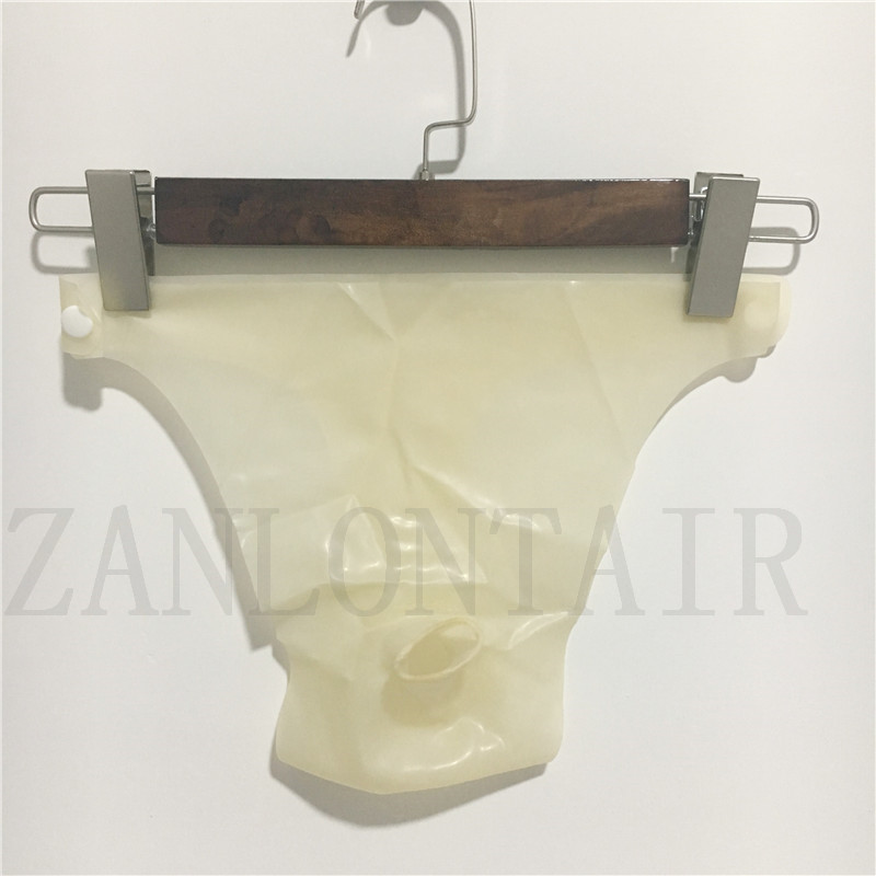 0 25mm thickness sexy lingerie exotic men male transparent latex safe front hole underpants shorts briefs knickers with buckles in Briefs from Novelty Special Use