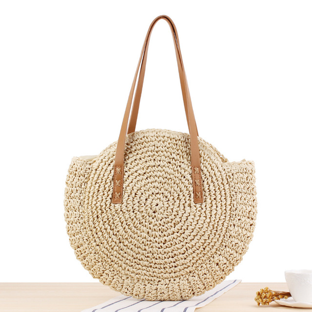 REREKAXI Hand-woven Round Woman's Shoulder Bag Handbag Bohemian Summer Straw Beach Bag Travel Shopping Female Tote Wicker Bags 3