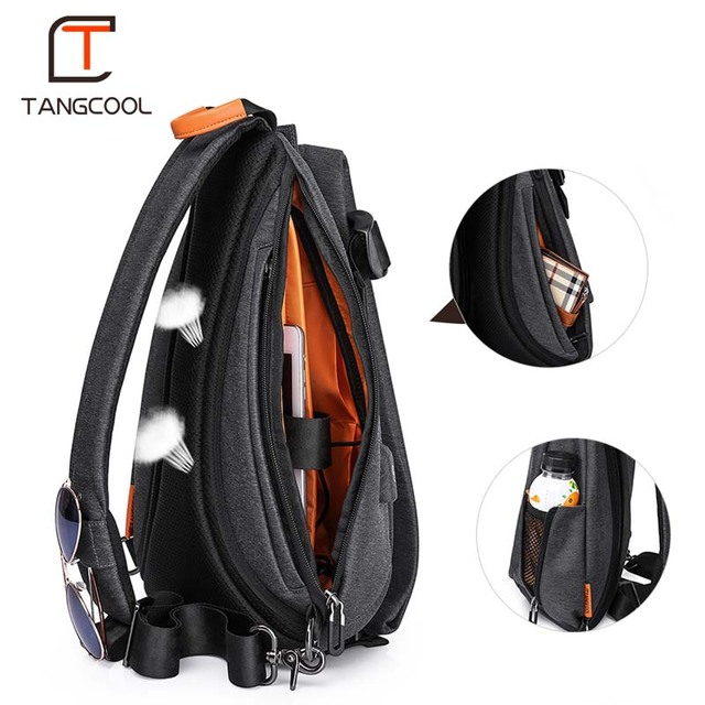 Tangcool Men Casual USB Charging Messenger Bag Fashion Men Shoulder Travel Chest Bag Pack Anti Theft Crossbody bags 2