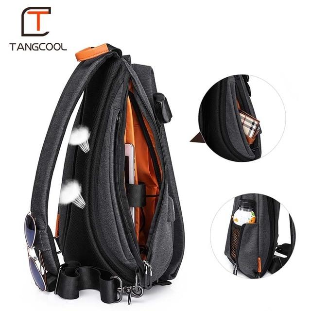 Tangcool Men Casual USB Charging Messenger Bag Fashion Men Shoulder Travel Chest Bag Pack Anti Theft Crossbody bags 2