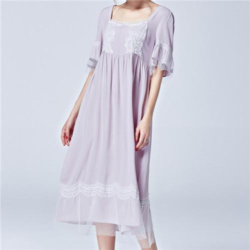 2017 Salón Del Sueño de Verano Largo Vestido de Casa Camisón De Encaje Rosa Princesa Camisones de Raso de Noche Atractiva Del Camisón