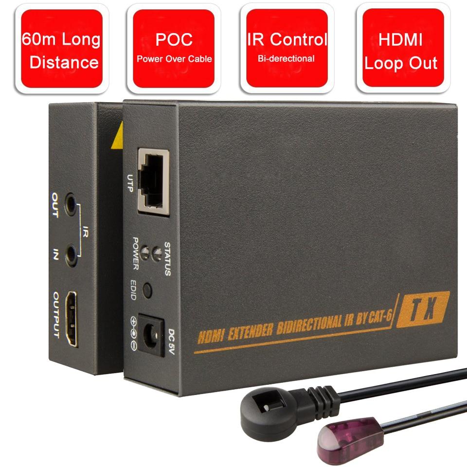 ZY-HT205P 60 m HDMI POE Extender Con Nessun Ritardo Nessuna Perdita 1080 P 3D HDMI Extender Su UTP CAT5e CAT6 RJ45 Cavo Con IR & Loop di Uscita