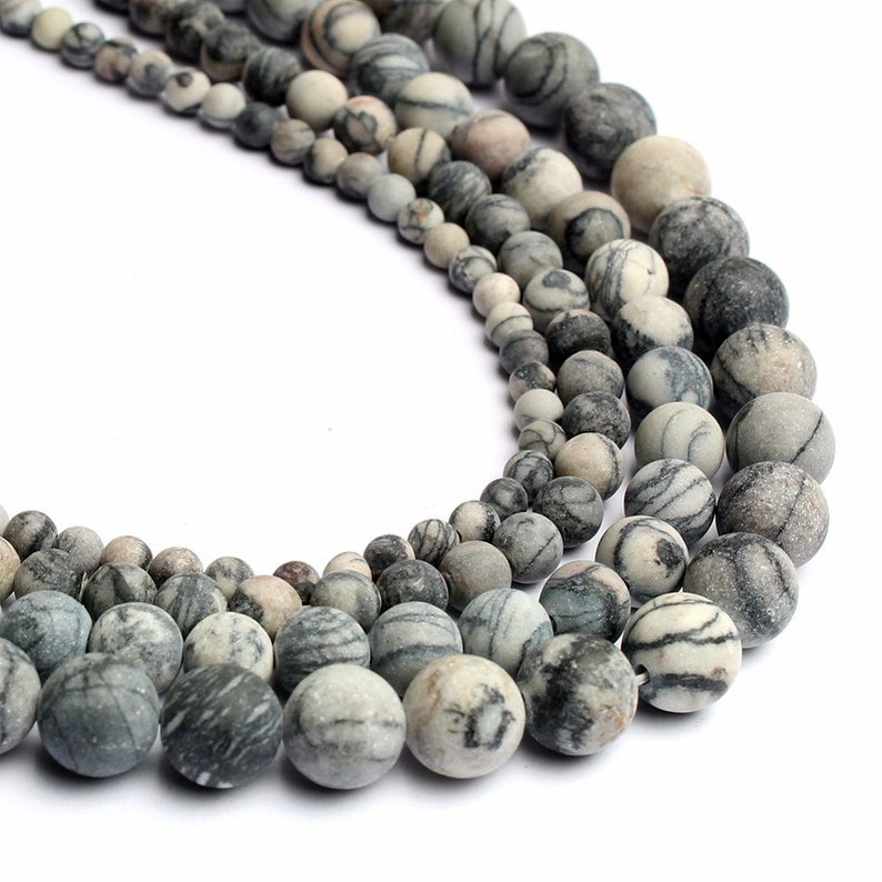 Black Silk Japser Beads, Natural Gemstone Beads, Round Matte Beads For Jewelry Making 4mm 6mm 8mm 10mm 12mm1