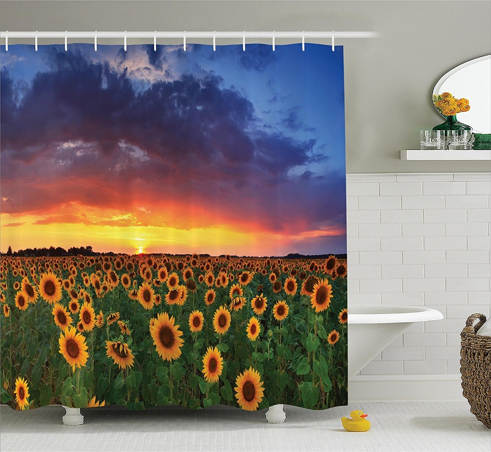 Sunflower shower curtain hooks - Sunflowers On The Sunset Sky With Colorful Clouds Greenery Scenic Picture Polyester Fabric Bathroom Shower Curtain