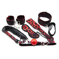 Adult Games 6 In 1 Leopard Top Whip Hand Clap Blindfold Erotic Toys Fetish Handcuffs Mouth