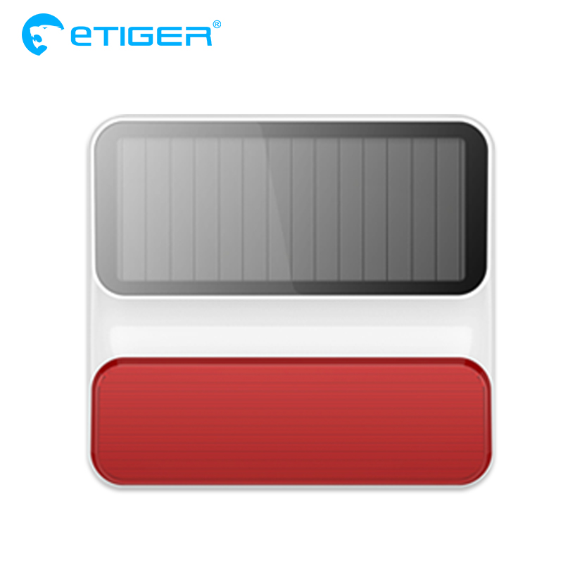 Sirène stroboscopique solaire extérieure sans fil eTiger ES-S8A extérieure sans fil pour système d'alarme Etiger S4/S3