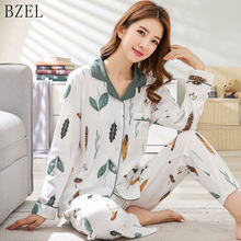 BZEL 2019 New Pajamas Sets Long Sleeve Sleepwear Turn-down Collar Nigh