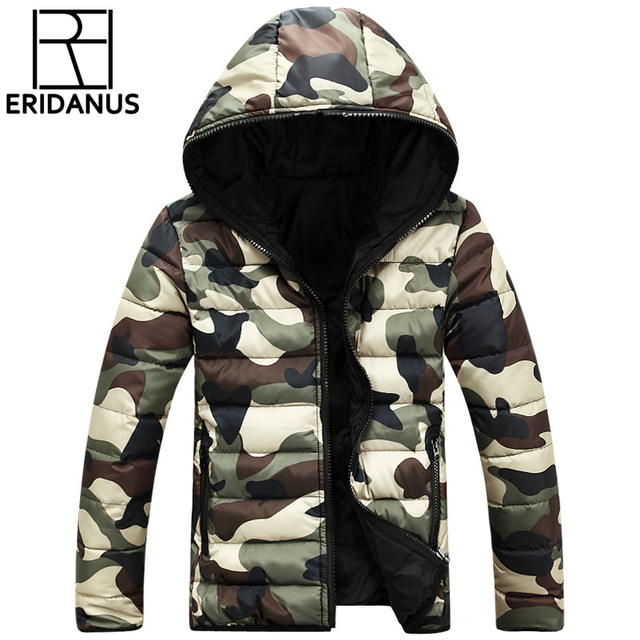 2016 Novos Homens Jaqueta Casual Zipper Moda Impresso Jaquetas de Camuflagem Com Capuz Revestimento dos homens Coreano Slim Fit Casaco de Inverno Homem M400